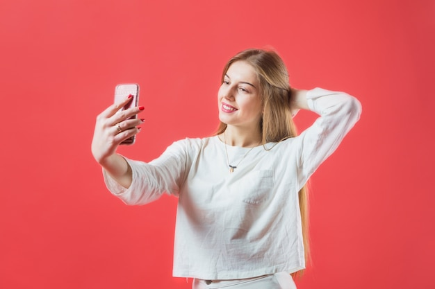 Portrait of modern woman with smartphone Free Photo