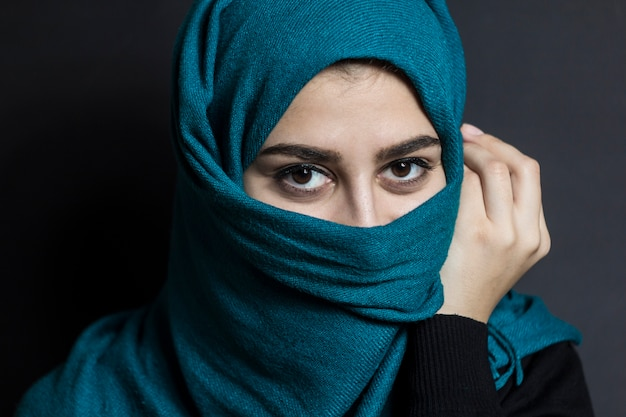 Portrait Of A Muslim Girl With Beautiful Eyes Photo Premium Download