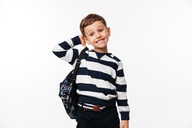 Портрет путать милый маленький ребенок с рюкзаком Бесплатные Фотографии