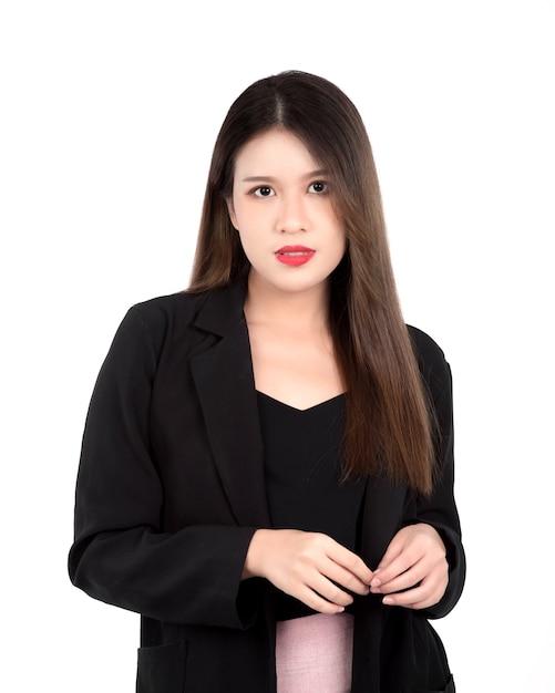 スーツを着た若い女性の肖像画 Premium写真