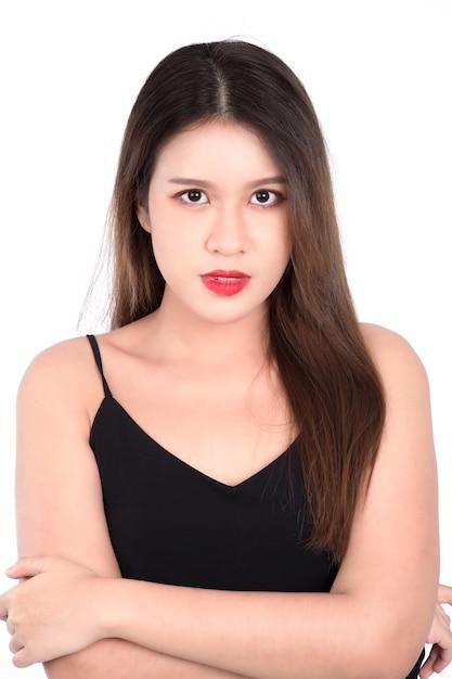 トップの若い女性の肖像画 Premium写真