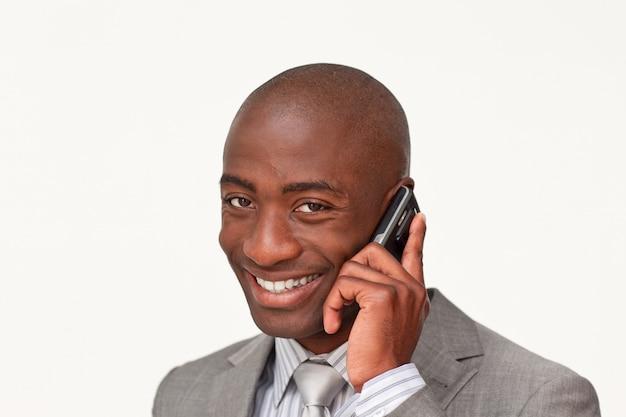 アフロアメリカ人のビジネスマンの肖像画 Premium写真