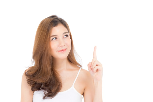 Portrait of beautiful asian woman thinking something  Premium Photo