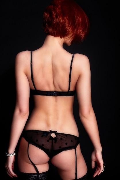 Портрет красивой стильной молодой женщины в нижнем белье Бесплатные Фотографии