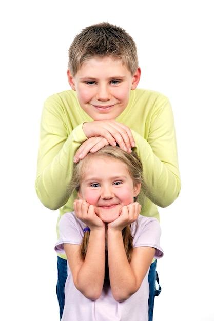 笑顔の兄と妹の肖像画 無料写真