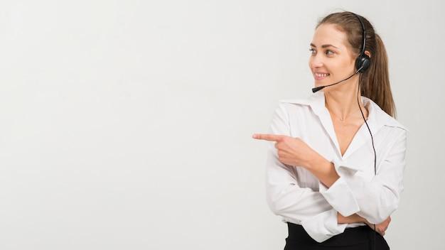 콜 센터 여자의 초상화 프리미엄 사진