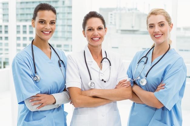 Portrait of female doctors with arms crossed Premium Photo