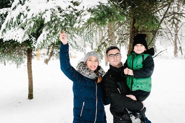 雪の冬の公園を歩いている幸せな家族の肖像画。父、母、子供たちの男の子は、自然の中で雪に覆われた冬の散歩を楽しんで遊んでいます。 Premium写真