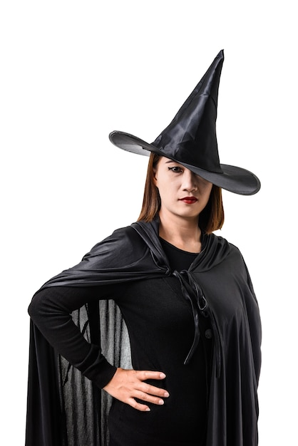 Portrait Of Woman In Black Scary Witch Halloween Costume ...