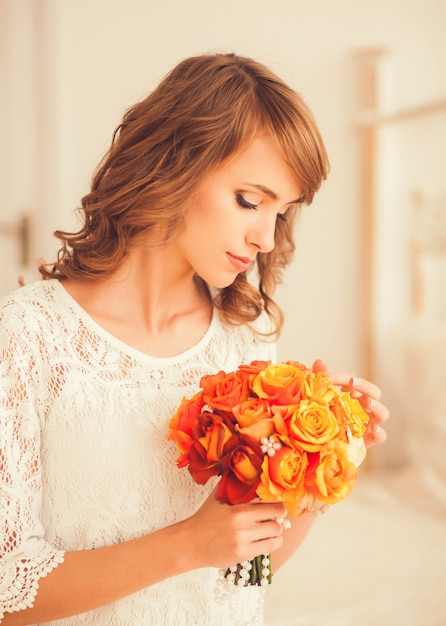 Portrait of a pretty bride Premium Photo
