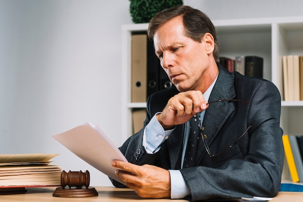 Portrait of professional mature lawyer reading document in the court room Free Photo