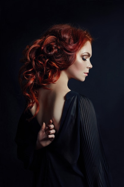 Portrait of redhead sexy woman with long hair Premium Photo