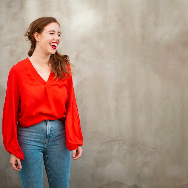 Portrait of redhead woman with copy space Free Photo