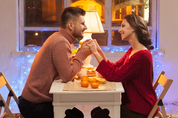Portrait of romantic couple at valentine's day dinner Free Photo