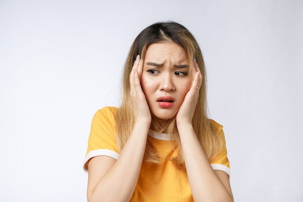 Portrait of sad crying pensive mad crazy asian woman Premium Photo