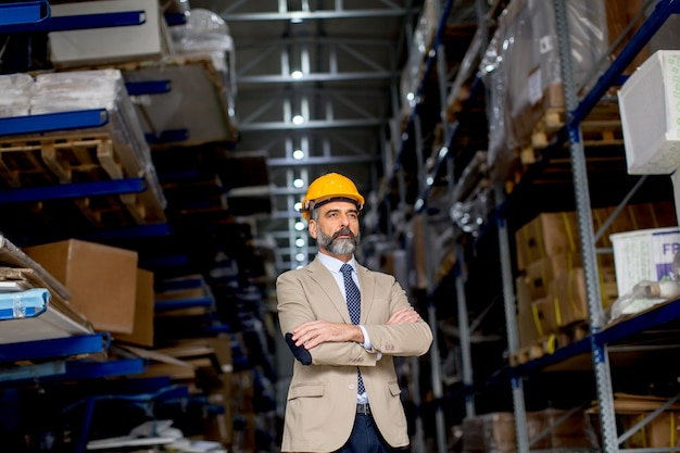 Portrait of senior handsome businessman in suit with helmet in a warehouse Premium Photo