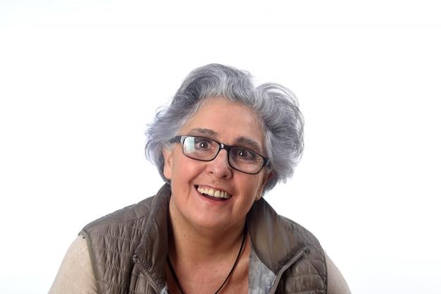 Portrait of a senior woma on white Premium Photo