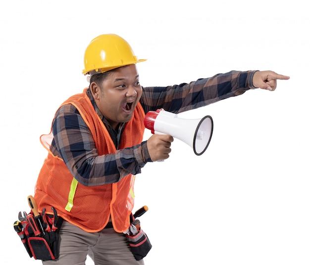 Portrait of serious constructor scream with horn Premium Photo