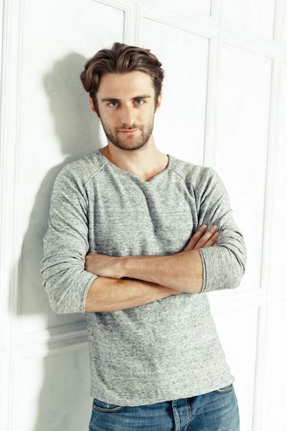 Portrait of sexy man in gray tshirt Premium Photo