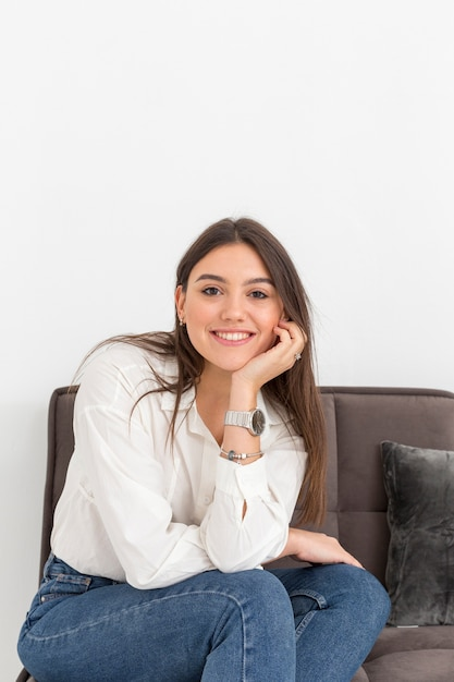 Portrait smiley woman at home Free Photo