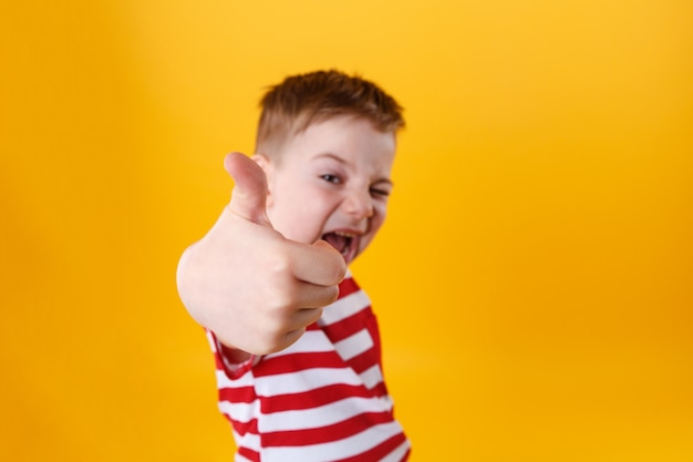 Portrait of a smiling active little boy showing thumbs up Free Photo