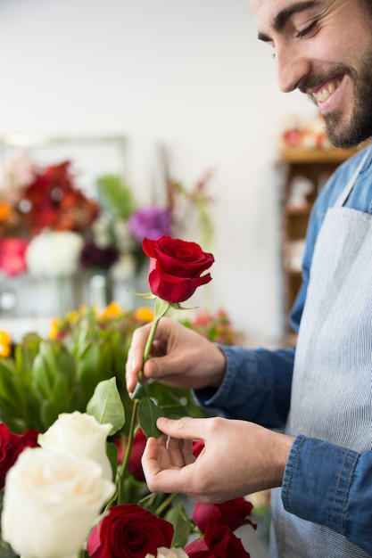 Portrait of a smiling young man holding red rose in hand Free Photo