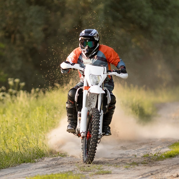 Portrait of stylish man riding motorcycle Free Photo