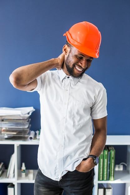 Portrait of successful african american male architect Free Photo