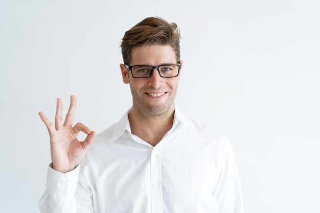 Portrait of successful young businessman showing ok sign Free Photo