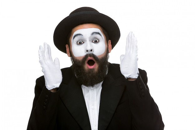 Portrait of the surprised and joyful mime with open mouth Free Photo
