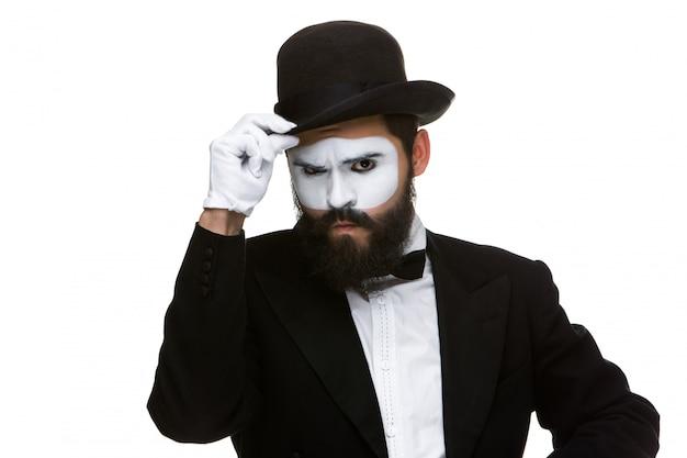Portrait of the suspicious mime Free Photo