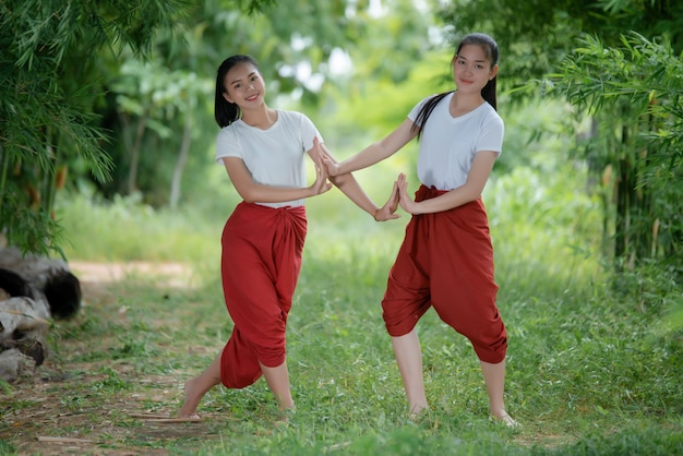 Portrait of thai young lady in art culture thailand dancing, thailand Free Photo