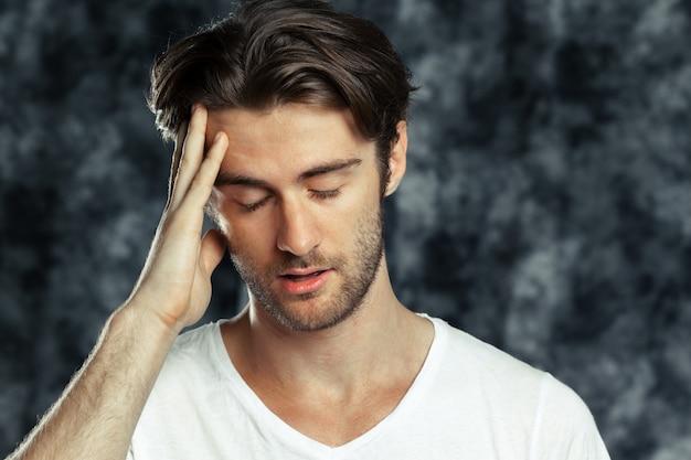 Portrait of the tired sad man Premium Photo