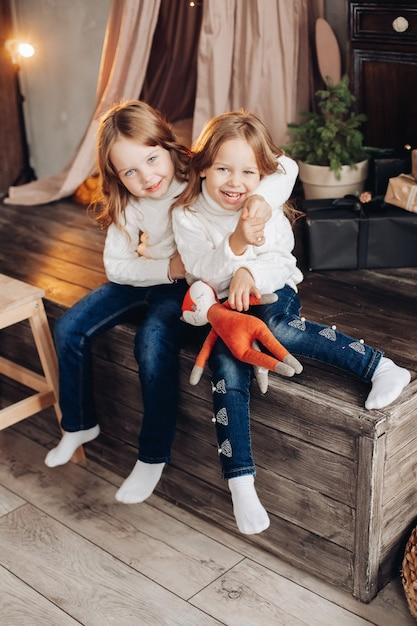 Ritratto di due sorelle allegre in maglioni bianchi che abbracciano sulla costruzione in legno a natale. Foto Gratuite