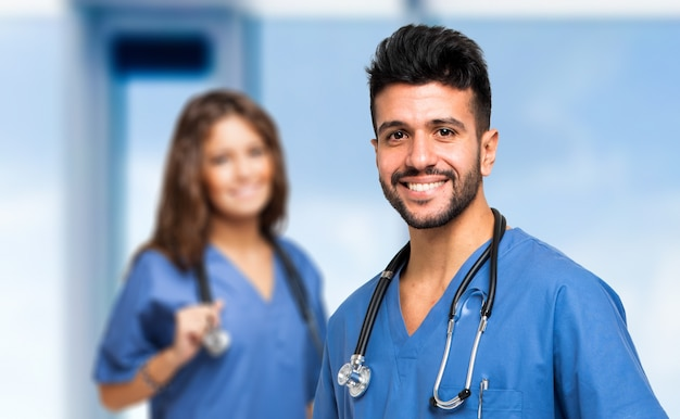 Portrait of two smiling medical workers Premium Photo