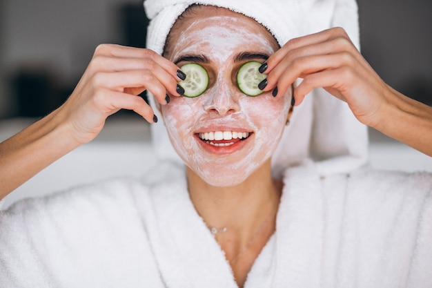 Portrait of woman wearing beauty mask Free Photo