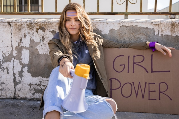 Portrait of young activist protesting Free Photo