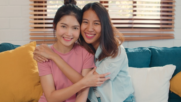 Portrait young asia lesbian lgbtq women couple feeling happy smiling at home. Free Photo