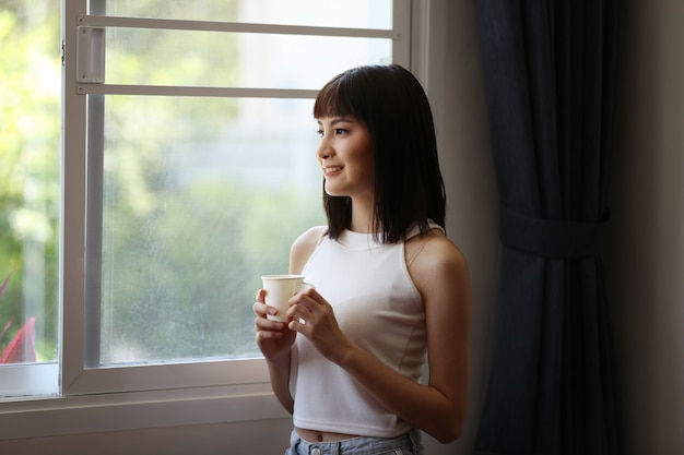 Portrait of young asian woman smiling Premium Photo