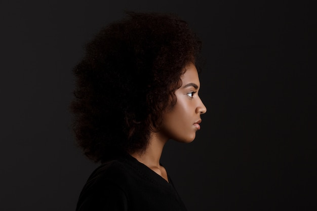 Portrait of young beautiful african girl  over dark wall Free Photo