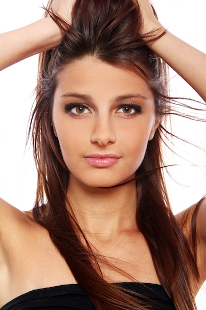 Portrait of young and beautiful woman Free Photo