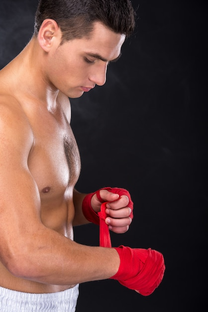 Portrait of a young boxer, side view Premium Photo