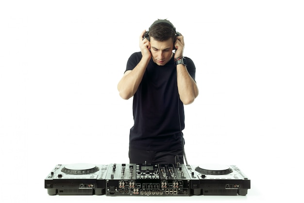 Portrait of a young dj isolated on white Premium Photo