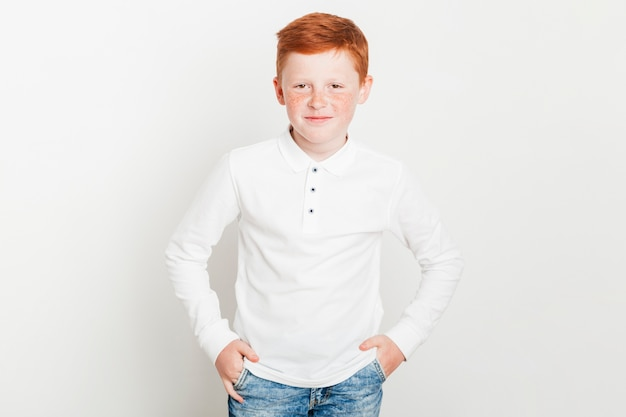 Portrait of young ginger boy Free Photo