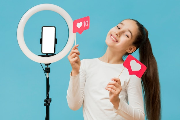 Portrait of young girl recording for personal blog Premium Photo