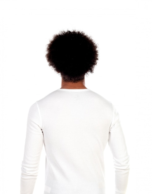 Portrait young man with afro hairstyle posing back Premium Photo