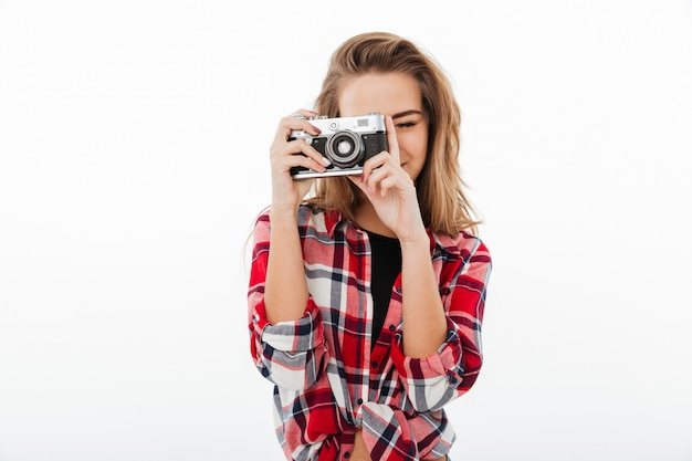 Portrait of a young pretty girl in plaid shirt Free Photo