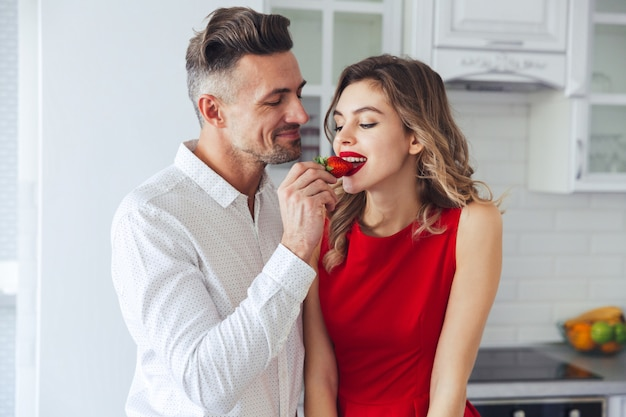 Portrait of a young romantic smart dressed couple Free Photo