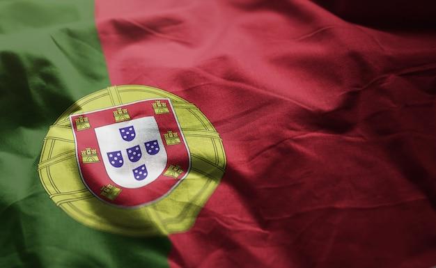 Portugal flag rumpled close up Premium Photo