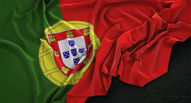 Portugal flag wrinkled on dark background 3d render Free Photo